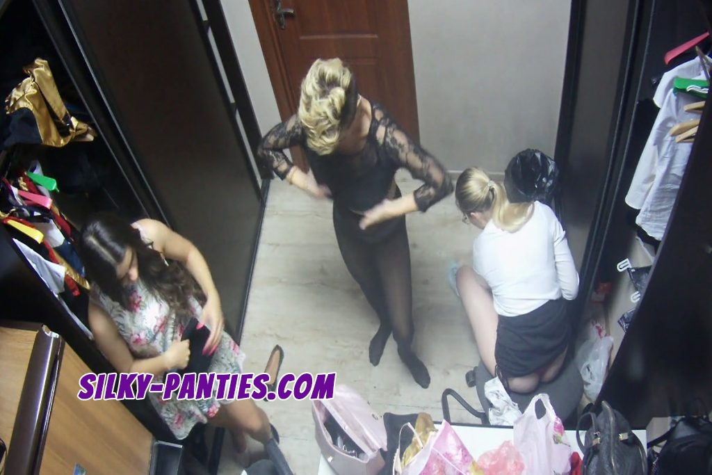Two hot blondes and one sexy brunette caught by hidden camera in dressing room