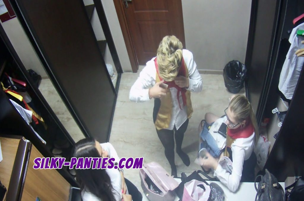 Three waitresses caught by hidden camera in the dressing room